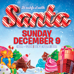 At Tulalip Resort Casino north of Bellevue and Seattle on I-5 you can enjoy Breakfast with Santa on Sunday, December 9!