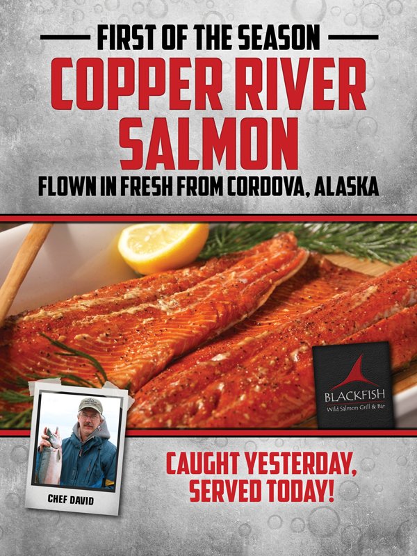 At the fabulous Tulalip Resort Casino north of Kirkland near Marysville, WA on I-5 Copper River salmon is now on the menu at the Blackfish Wild Salmon Grill & Bar!