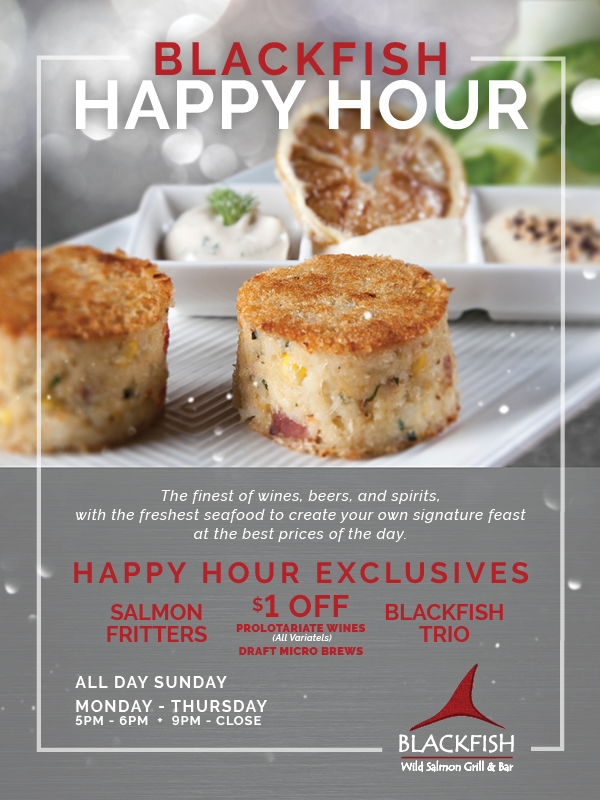 Enjoy Blackfish's Happy Hour Exclusives at the fabulous Tulalip Resort Casino near Marysville on I-5!