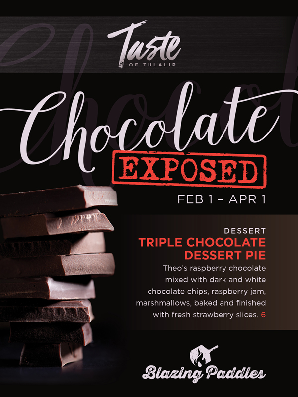 Play at Tulalip Resort Casino north of Renton near Everett, WA on I-5 and relax with a delicious chocolate enhanced item at Blazing Paddles!