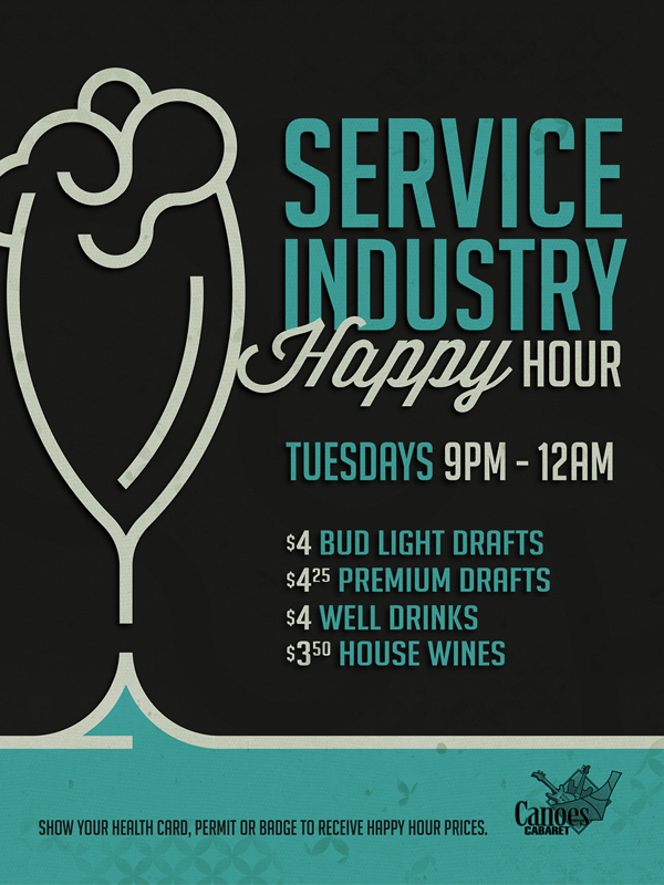 The service industry happy hour flyer for Tuesdays at the fabulous Tulalip Resort Casino just north of Seattle on I-5!