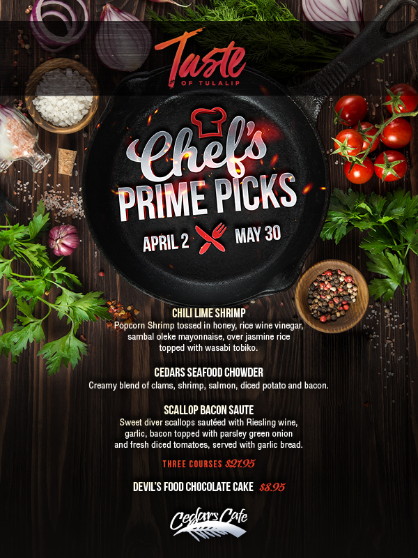 Relax and play at Tulalip Resort Casino south of West Vancouver, BC near Seattle on I-5 with Chef's Prime Picks available at Cedars!