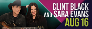 The fabulous Tulalip Resort Casino south of Richmond, BC near Seattle on I-5 hosts Clint Black and Sarah Evans performing live in concert in Tulalip Amphitheatre - get your tickets!