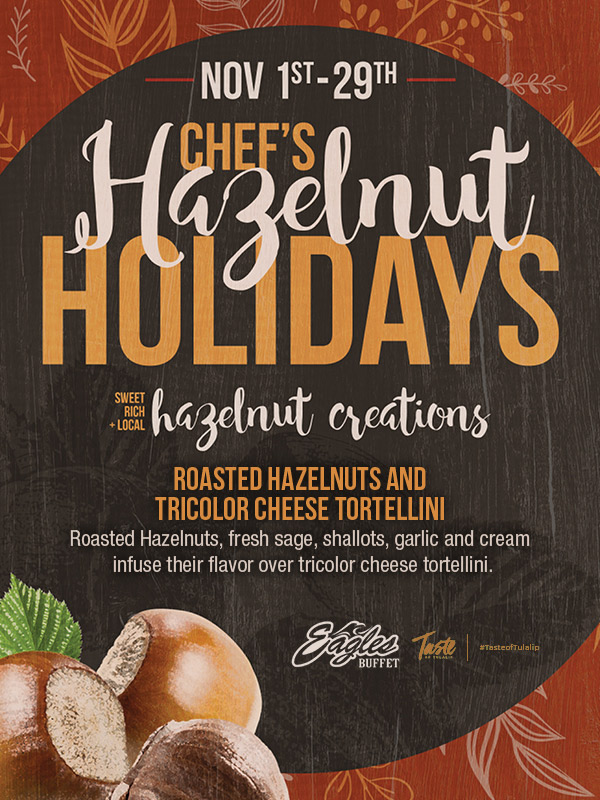 Play slots at Tulalip Resort Casino and enjoy our Chef's Holiday Halelnuts specials at Eagles Buffet - we are just north of Bellevue and Lynnwood on I-5!