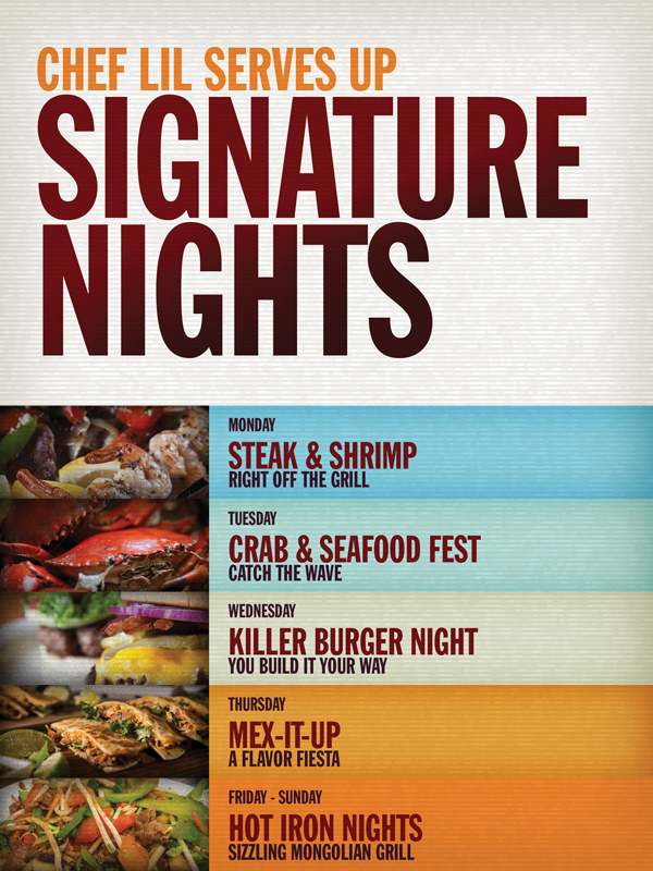 Eagles Buffet in Tulalip Resort Casino south of Vancouver, BC on I-5 features Signature Nights - check it out!