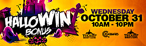 At Tulalip Resort Casino south of Richmond, BC near Seattle on I-5 swipe your ONE club card and pick a pumpkin to earn up to $200 in Free Play.