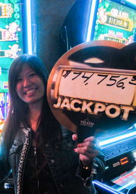 Play slots at Tulalip Resort Casino just north of Bellevue near Marysville, WA on I-5 like Nancy F. hitting a huge jackpot on Tree of Wealth for over $74,000!