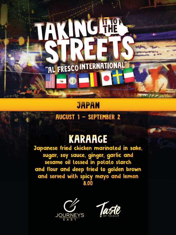 "Play slots at Tulalip Resort Casino and enjoy our Taking It To the Streets ""Al Fresco International"" dining specials in Journeys East August 1 - September 2 - located south of Vancouver, BC near Seattle on I-5!"