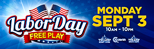 Play at the fabulous Tulalip Resort Casino south of Vancouver, BC near Seattle on I-5 with Free Play prizes on Labor Day!