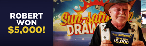 Play slots at Tulalip Resort Casino just north of Bellevue like Sun-Sational Drawing winner Robert!