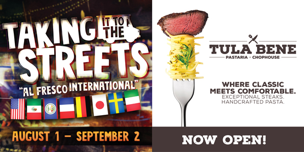 "Play slots at Tulalip Resort Casino and enjoy our Taking It To the Streets ""Al Fresco International"" dining specials in Tula Bene August 1 - September 2 - located south of Vancouver, BC near Seattle on I-5!"