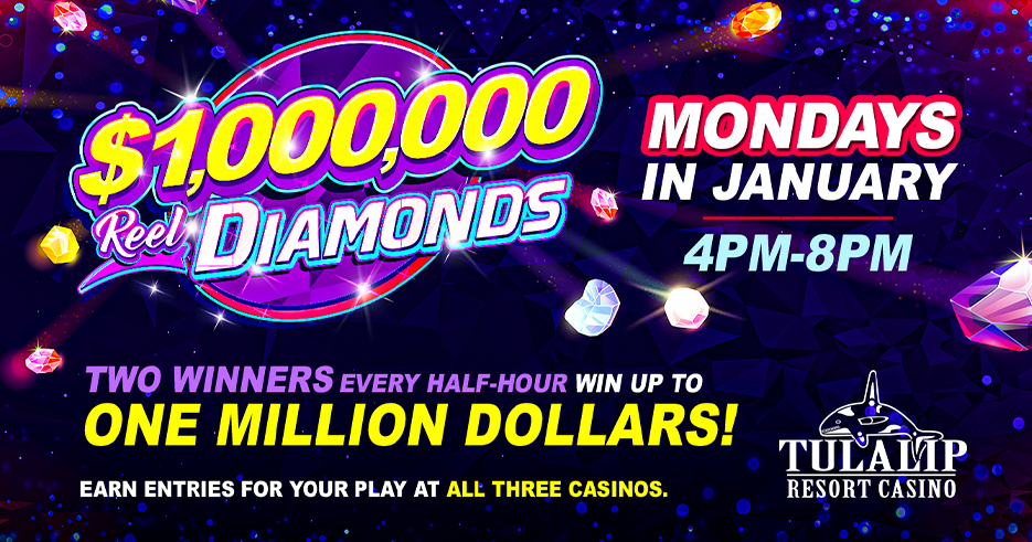 Tulalip Resort Casino - There are a MILLION reasons to play this January! Be one of two winners drawn every 30 minutes to have a chance to spin for ONE MILLION DOLLARS CASH.