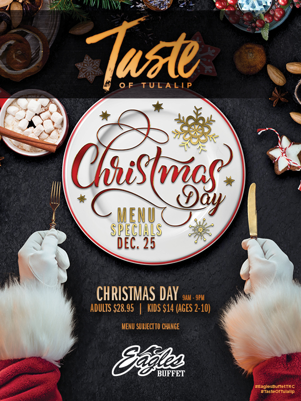 Image of Christmas 2019 promotion at Tulalip's Eagles buffet restaurant