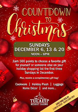 Tulalip Resort Casino - Choose a favorite gift for yourself or someone else on your holiday shopping list the first three Sundays in December