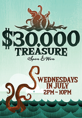 Play at Tulalip Resort Casino north of Bellevue and Redmond on I-5 to win free play on Wednesdays in july!