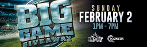 Play slots at Tulalip Resort Casino just north of Marysville on I-5 to enter the BIG GAME GIVEAWAY drawing!