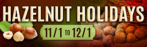 Sliding image of the Hazelnut Holidays December dining promotion at Tulalip restaurants