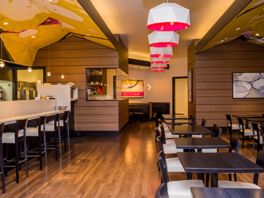 Journeys East Asian cuisine to dine in or take out at luxurious Tulalip Casino Resort near Seattle – dining room bar seating