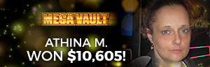At the fabulous Tulalip Resort Casino south of Vancouver, BC near Seattle on I-5 Athina M. hit a big jackpot on the Mega Vault slot machine!