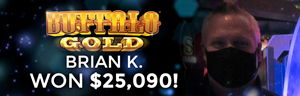 Brian K. won $25,090 playing Buffalo Gold at Tulalip Resort Casino.