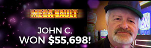 Play slots at Tulalip Resort Casino north of Bellevue and Seattle on I-5 like John C. hitting a huge jackpot on Mega Vault!