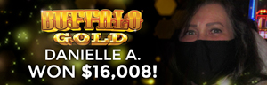 Danielle A. won $16,008 playing Buffalo Gold Collection at Tulalip Resort Casino.