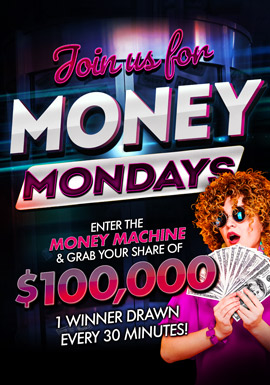 At the fabulous Tulalip Resort Casino just north of Seattle near Everett on I-5 play $100,000 Money Mondays every Monday in July!