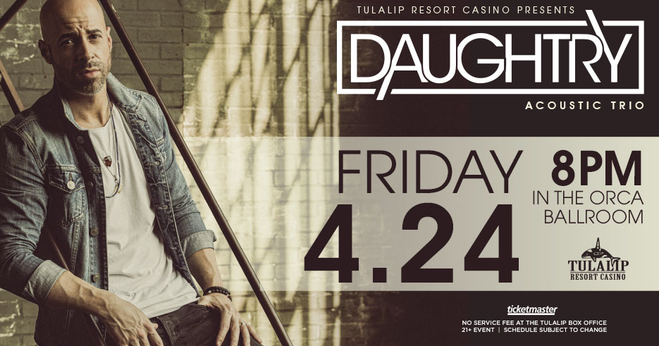 Enjoy Daughtry live in concert at the Tulalip Resort Casino in the Orca Ballroom on Friday, April 24, 2020 - get your tickets!