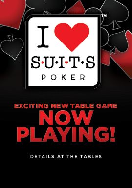 """I Luv Suits Poker"" is an exciting poker variation where players attempt to get a flush with more cards than the dealer."