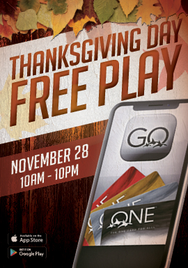 Play slots at Tulalip Resort Casino just north of Bellevue and Seattle on I-5 to enter the Thanksgiving Day Free Play!