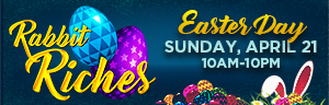 Play slots at Tulalip Resort Casino just north of Bellevue and Seattle on I-5, and enter Rabbit Riches for Free Play on Sunday, April 21!