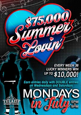 Play at Tulalip Resort Casino north of Bellevue and Redmond on I-5 to win free play on Mondays!