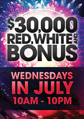 Join us at Tulalip Resort Casino for $30,000 Red White and Bonus to win your share of up to $2,500 Free Play!