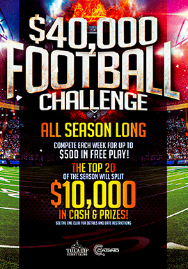 BSelect your picks for each week's winning pro football teams by swiping your ONE club card at the kiosk. FIFTY PLAYERS will win up to $500 in Free Play each week!