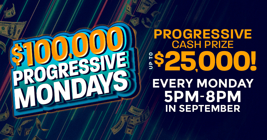 THIRTEEN LUCKY WINNERS will have the chance to win a progressive cash prize up to $25,000 every Monday! Progressive starts at $5,000 and grows by $500 every 15 minutes at the Tulalip Resort Casino in Marysville.