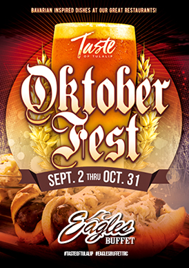 Play slots at Tulalip Resort Casino south of Richmond, BC near Seattle on I-5 and enjoy special Oktoberfest dining options in Eagles Buffet through October 31!