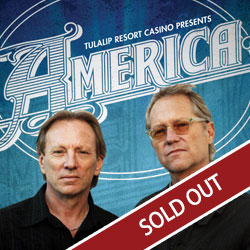 America comes to Tulalip Resort Casino south of Vancouver, BC near Seattle for a live concert in the Orca Ballroom on Friday, March 8, 2019 - sold out!