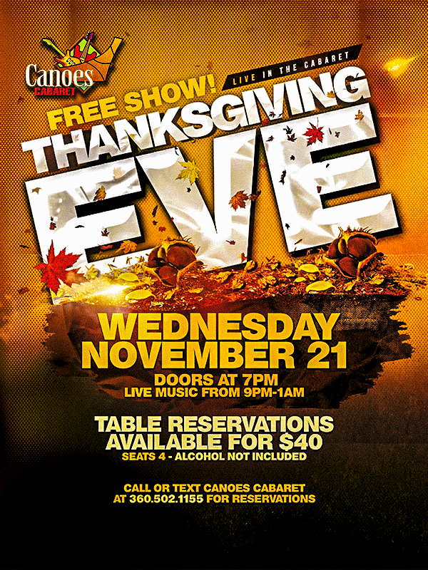 Celebrate at Tulalip Resort Casino at the Thanksgiving Eve in The Cabaret with Harmonious Funk playing live - we are located south of Vancouver, BC near Seattle on I-5!