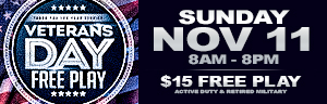 Play slots at Tulalip Resort Casino just north of Seattle on I-5 on Veterans Day and enter the strong man game!